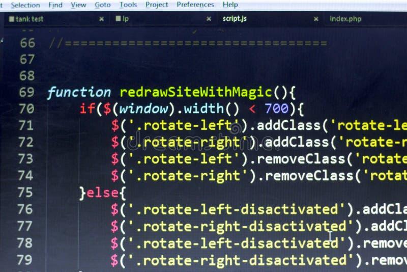 Codice a fine frontale di Javascript Codice sorgente di programmazione Schermo astratto di sviluppatore web immagini stock libere da diritti