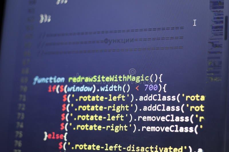 Codice a fine frontale di Javascript Codice sorgente di programmazione Schermo astratto di sviluppatore web fotografie stock libere da diritti