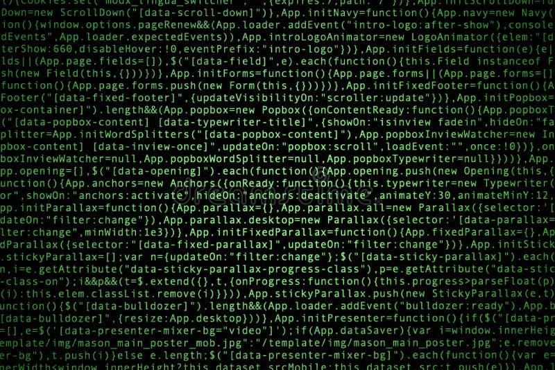 Codice sorgente del software su fondo scuro immagini stock libere da diritti