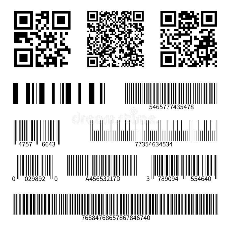Codici a barre Barre di codice di ricerca del supermercato e codici del qr, insieme isolato industriale di vettore delle etichett royalty illustrazione gratis