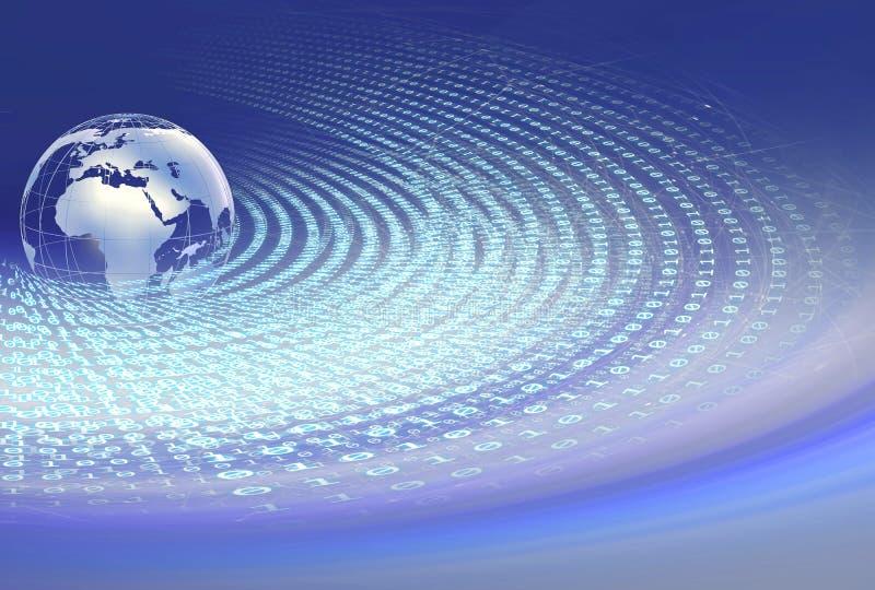 Codici binari del mondo di Digital intorno al globo della terra con collegamento illustrazione di stock