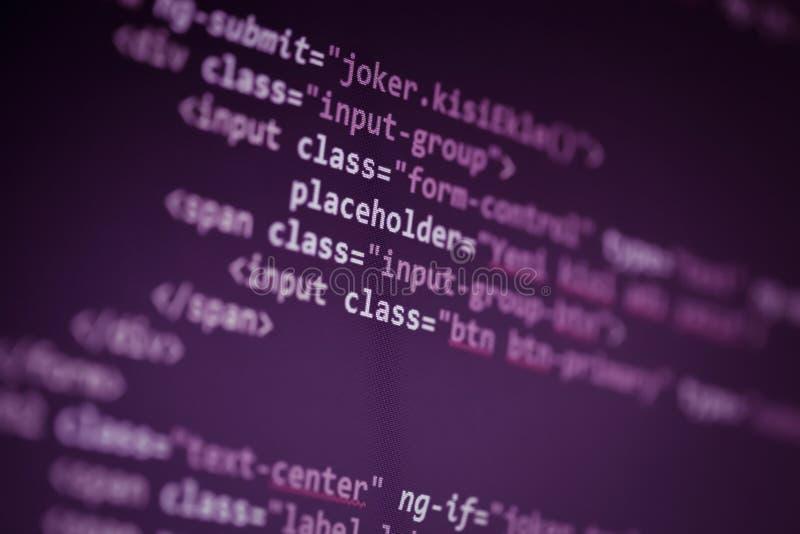 Codici sorgente della pagina Web macro immagini stock