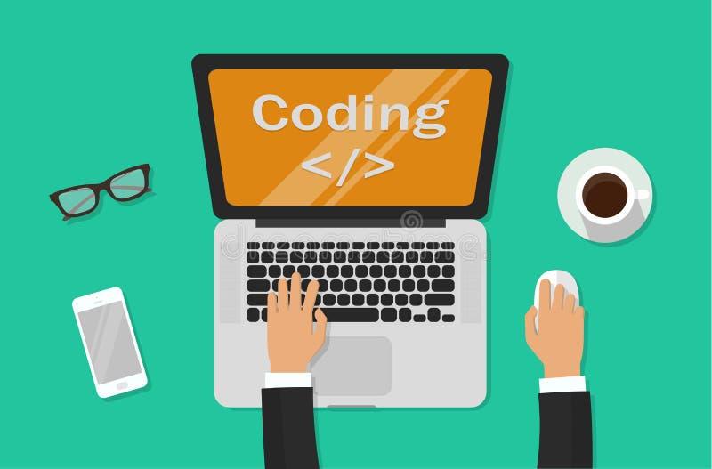 Codificação do programador no laptop na mesa do trabalho, no freelancer que sentam-se na tabela de funcionamento e no código de d ilustração do vetor