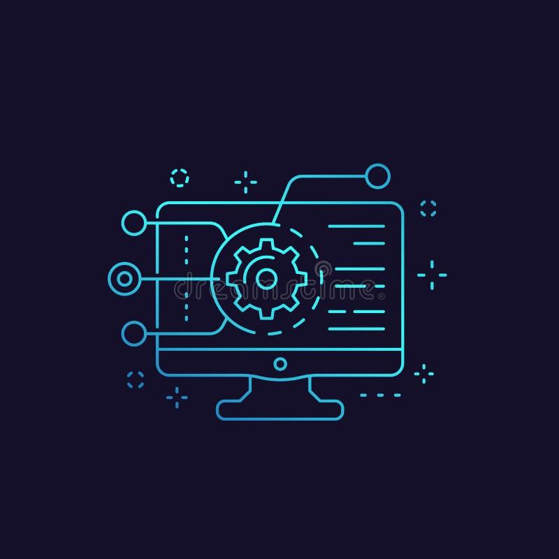 Codificação, programação de software, ícone da integração do app ilustração stock
