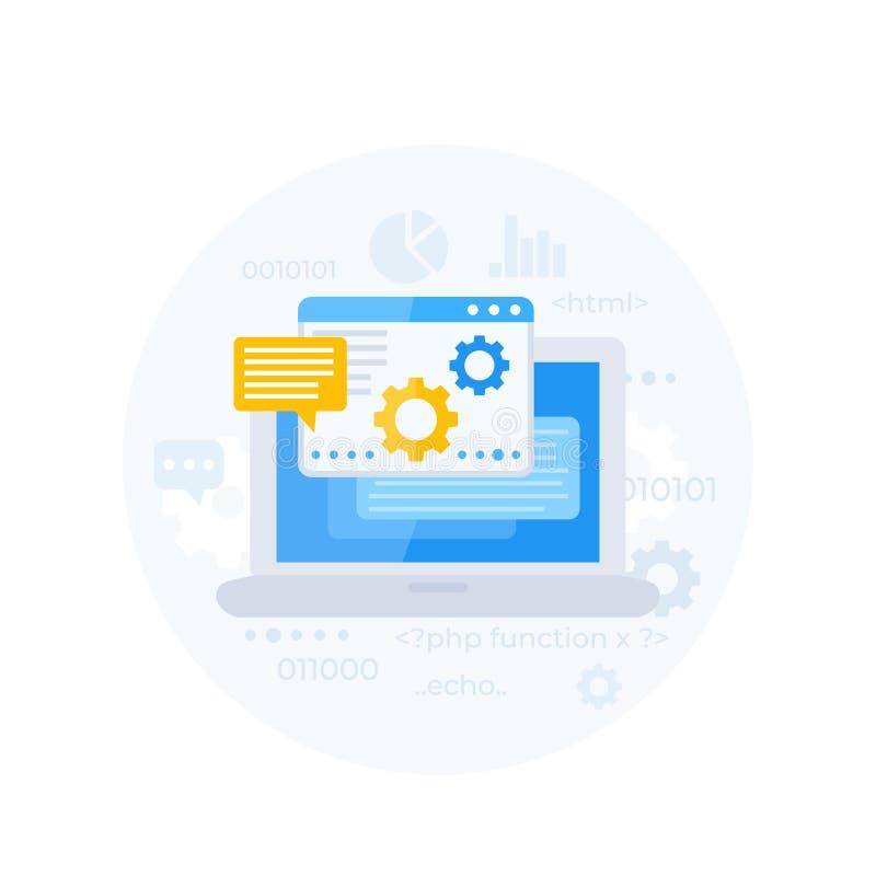 Codificação, programação de software, integração do app ilustração royalty free