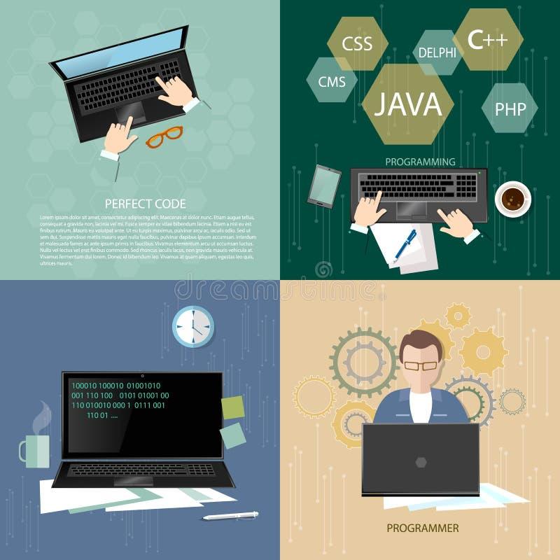 Codifica della Software Engineer di concetto dei programmatori nel computer royalty illustrazione gratis