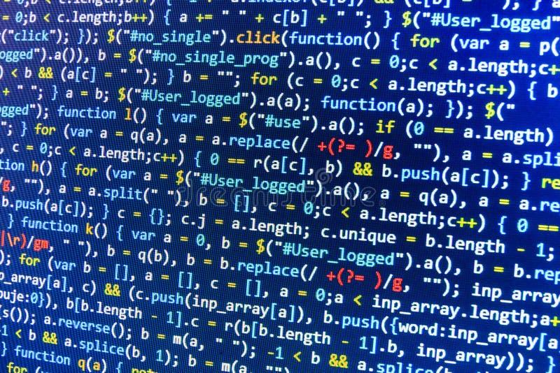 Codifica dello schermo di programmazione di codice sorgente Pannello dati astratto variopinto Scritto di programma di web degli s fotografie stock libere da diritti