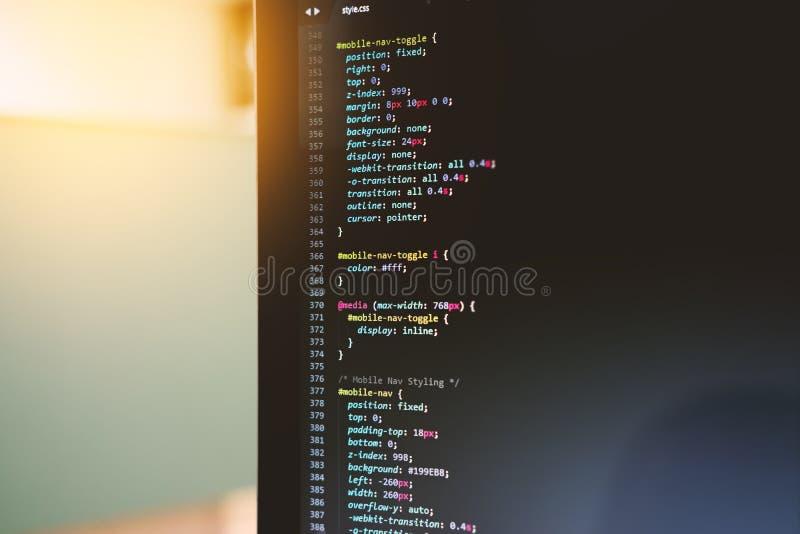 Codificación borrosa y programación para el desarrollo web y el diseño web fotografía de archivo