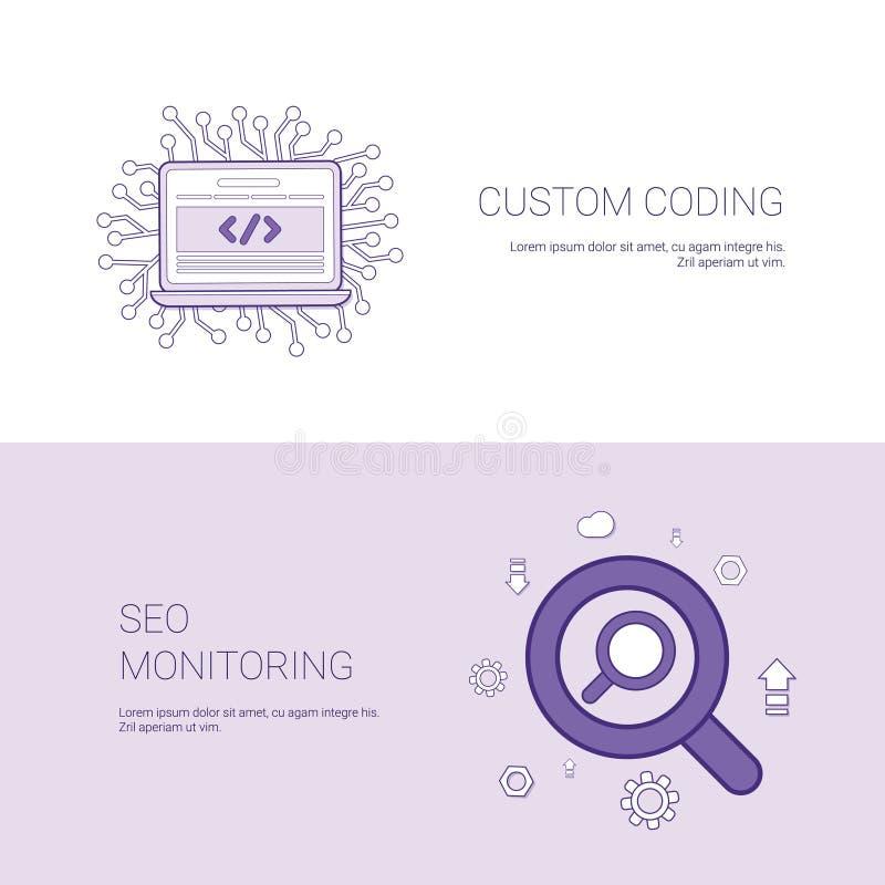Codificación de encargo y Seo Monitoring Template Web Banner con el espacio de la copia ilustración del vector