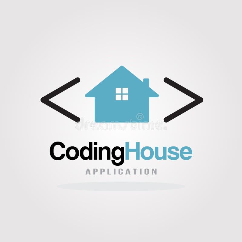 Codificación de la casa Logo Design Template con concepto de diseño de la casa Desarrollo de programas, aplicación de software, a libre illustration
