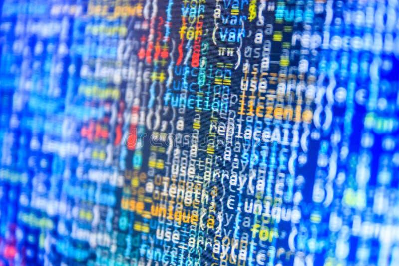 Codificación de la pantalla programada del código fuente fotos de archivo libres de regalías
