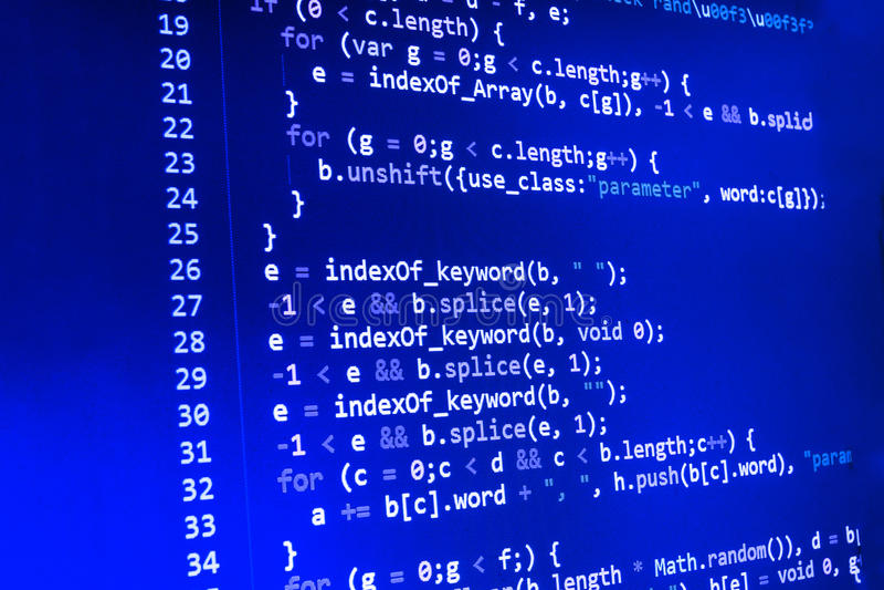 Codificación de la pantalla programada del código fuente Exhibición de datos abstracta colorida Escritura del programa del web de fotografía de archivo libre de regalías