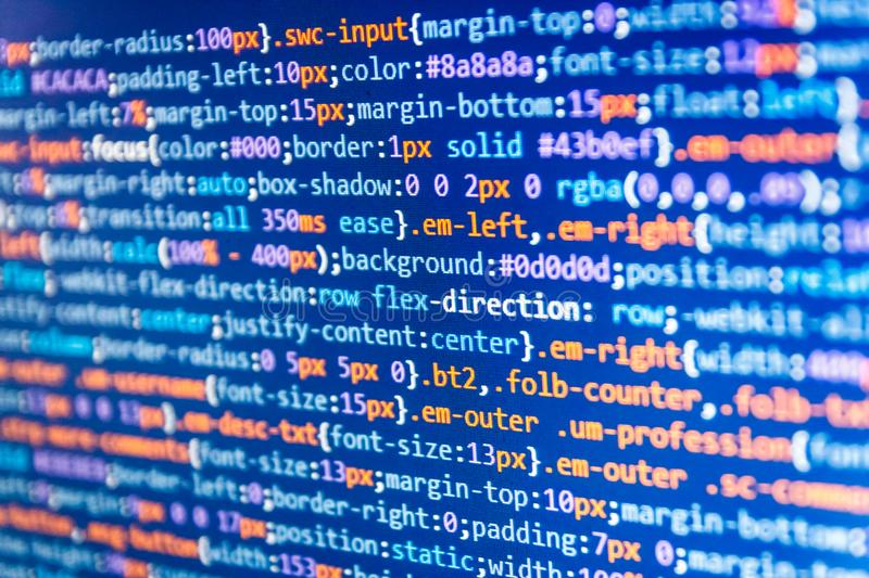 Codificación de las TIC en la pantalla de monitor Código del Javascript en editor de texto Diseño de páginas Web libre illustration
