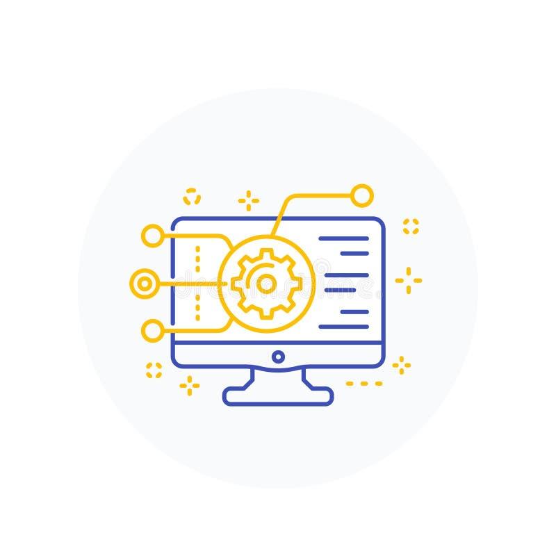Codificación, desarrollo de programas, icono de la integración del app ilustración del vector