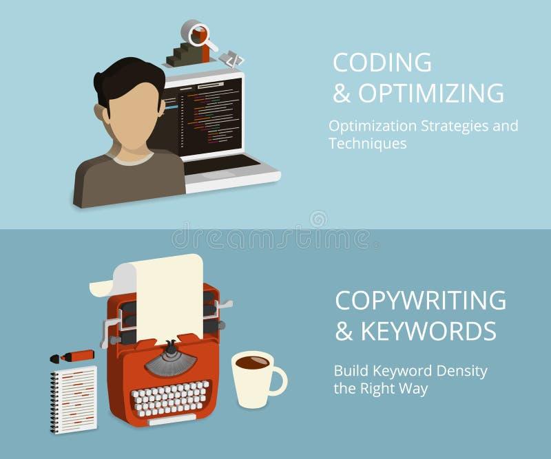 Codificación y el copywriting stock de ilustración