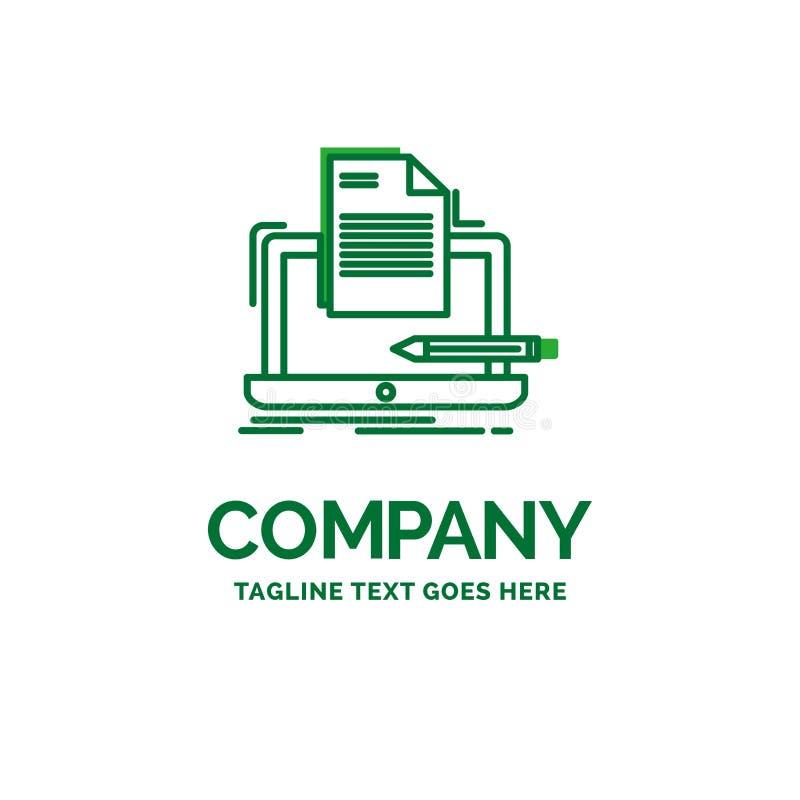 Codificador, codificación, ordenador, lista, plantilla plana del logotipo del negocio del papel libre illustration