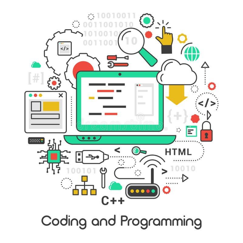Codificando e linha de programação Art Thin Icons ilustração do vetor