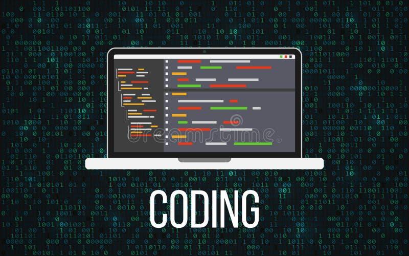 Codificando o conceito do portátil no fundo binário Desktop e contexto de programação da matriz Monitor com código do programa mó ilustração stock