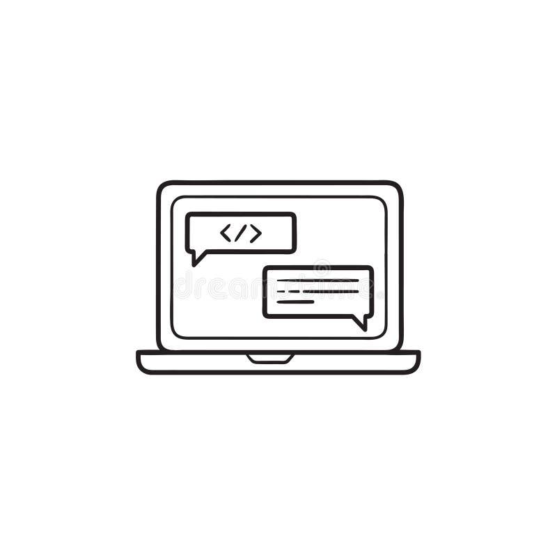 Codificando su un'icona disegnata a mano di scarabocchio del profilo del computer portatile illustrazione di stock