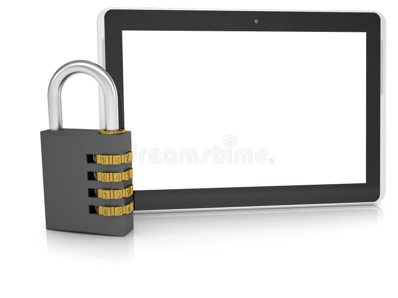 Codifichi la serratura vicino ad un PC della compressa royalty illustrazione gratis