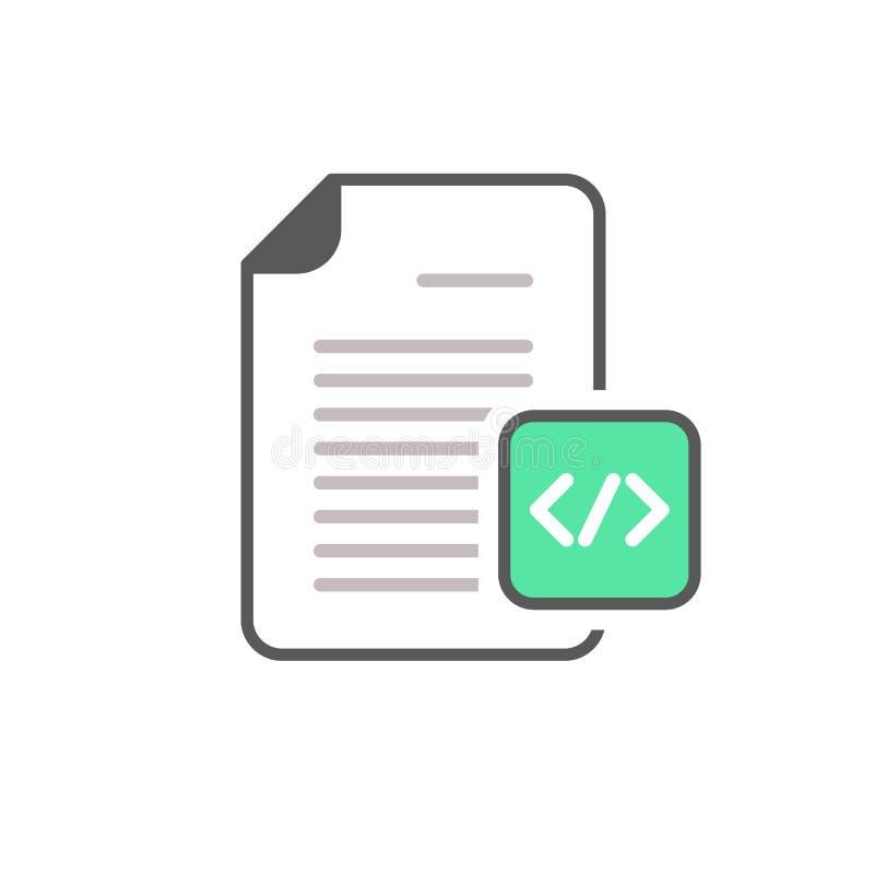 Codifique o ícone de programação do HTML page do arquivo de original da codificação ilustração do vetor