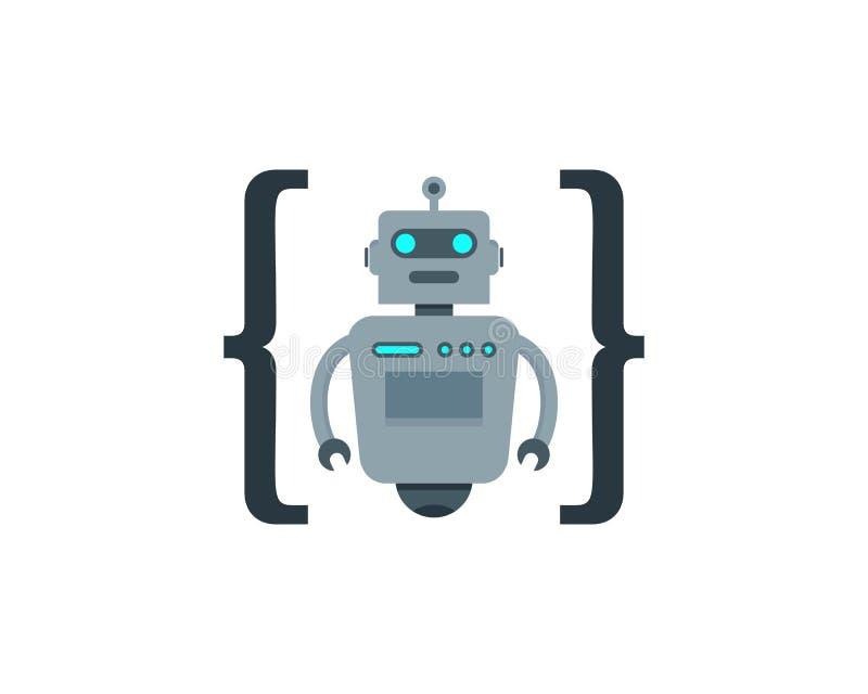Codifique o ícone Logo Design do robô ilustração stock