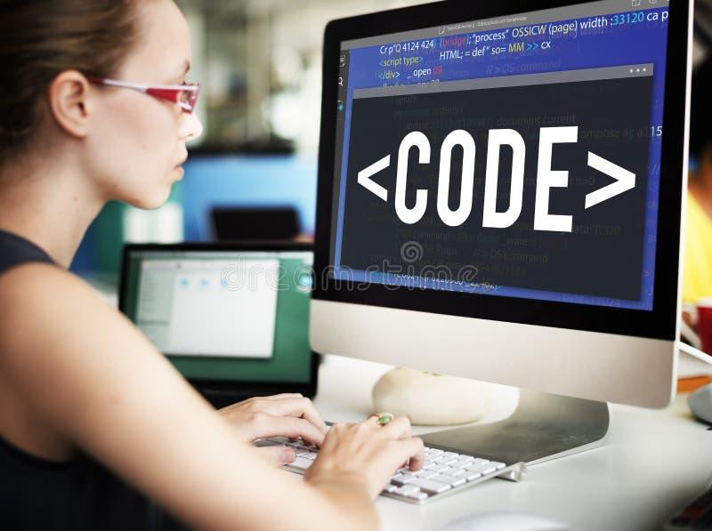 Codifique o conceito técnico de programação da tecnologia da codificação fotos de stock