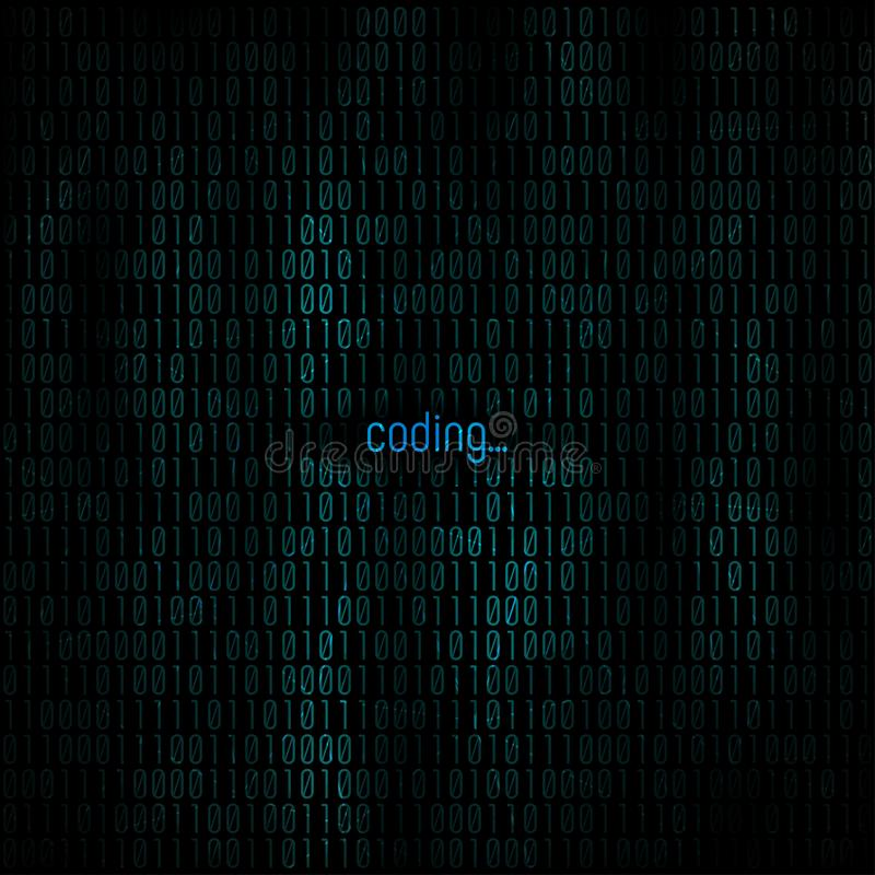 Coding abstract background. Matrix with binary code for Your business project background. Programming background. Vector royalty free stock photography