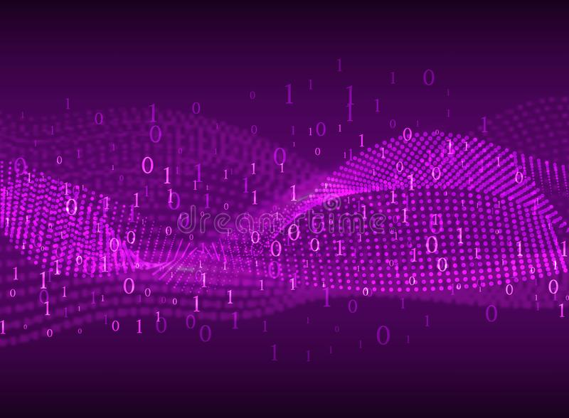 Coding. Abstract purple background with blurred lines and numbers. stock illustration