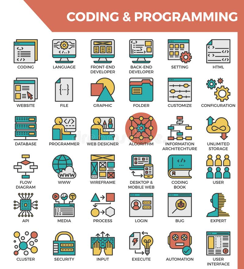 Coding & Programming concept detailed line icons. Coding vector illustration