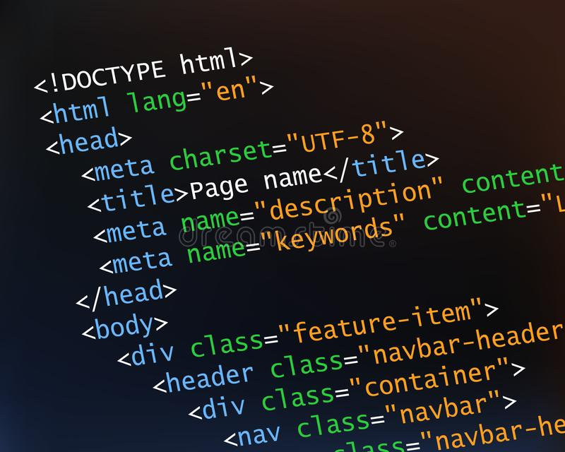 Coding concept with html code. Coding and programming concept with html source code. Tilted vector illustration stock images