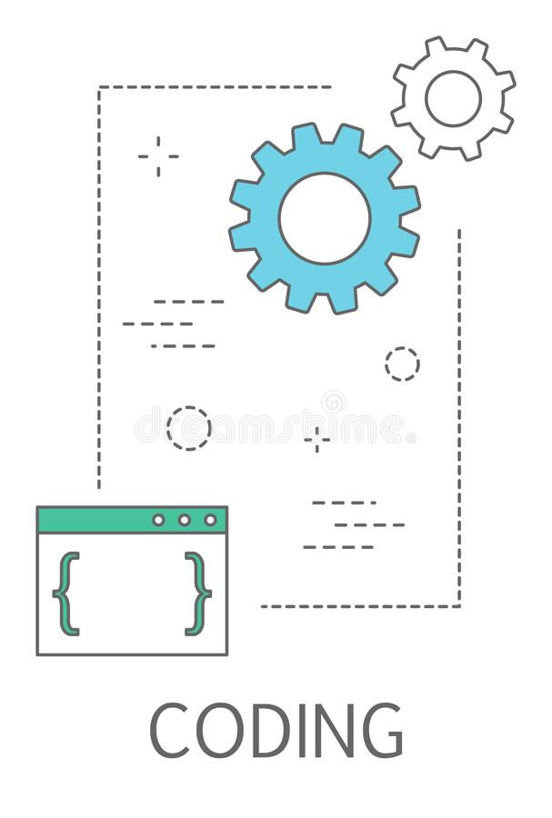 Coding concept illustration. Programming and web design stock illustration