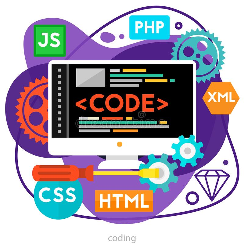 Coding Concept. Trendy bright ameoba vector illustration royalty free illustration