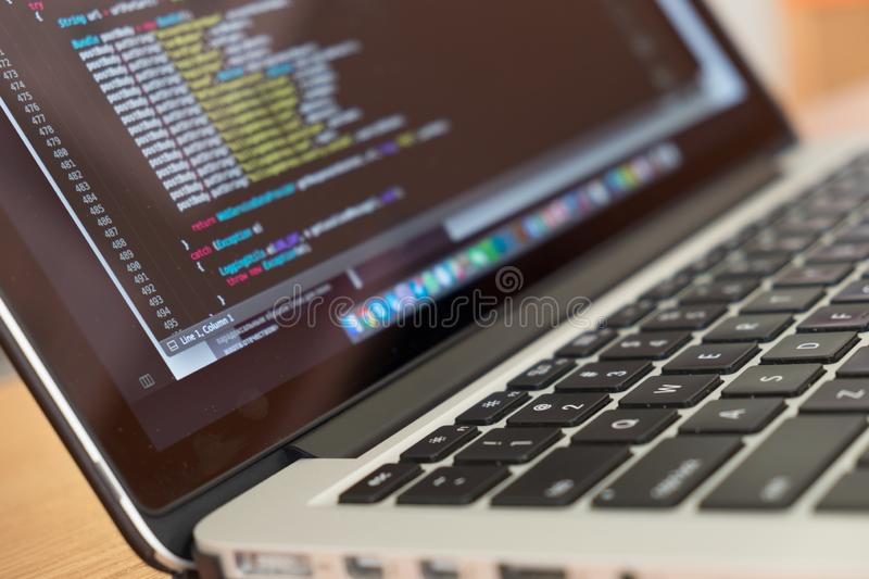 Coding and developer keyboard stock photography