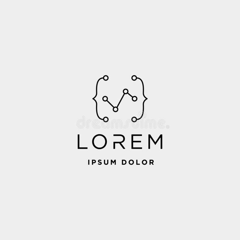 coding digital logo design template vector lineart royalty free illustration