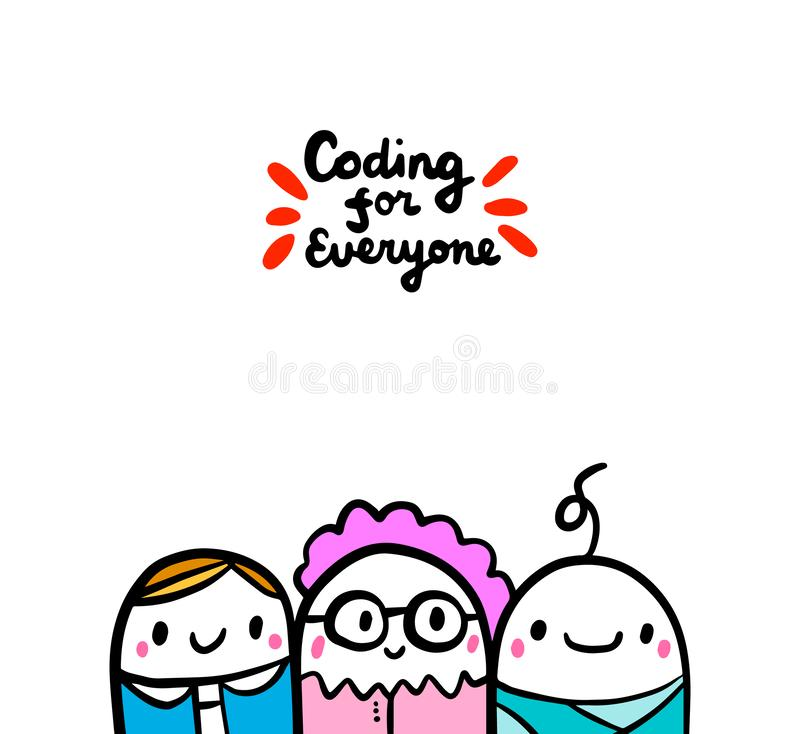 Coding for everyone hand drawn vector illustration in cartoon style. Manager old woman baby. Together vector illustration