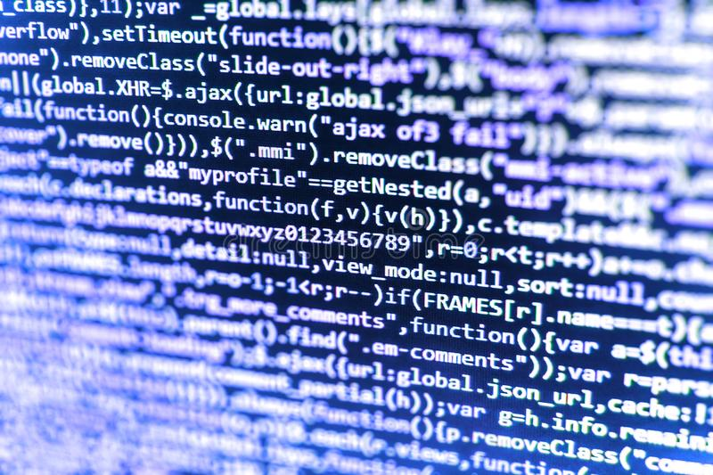 Programming code. Creative focus effect. stock images