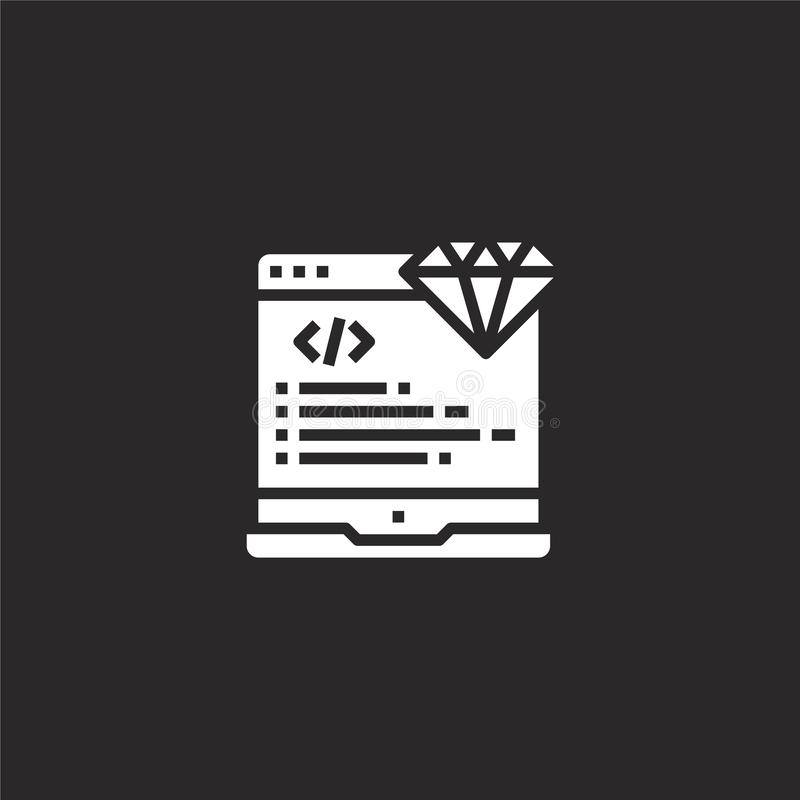 Coding icon. Filled coding icon for website design and mobile, app development. coding icon from filled seo collection isolated on. Black background vector illustration