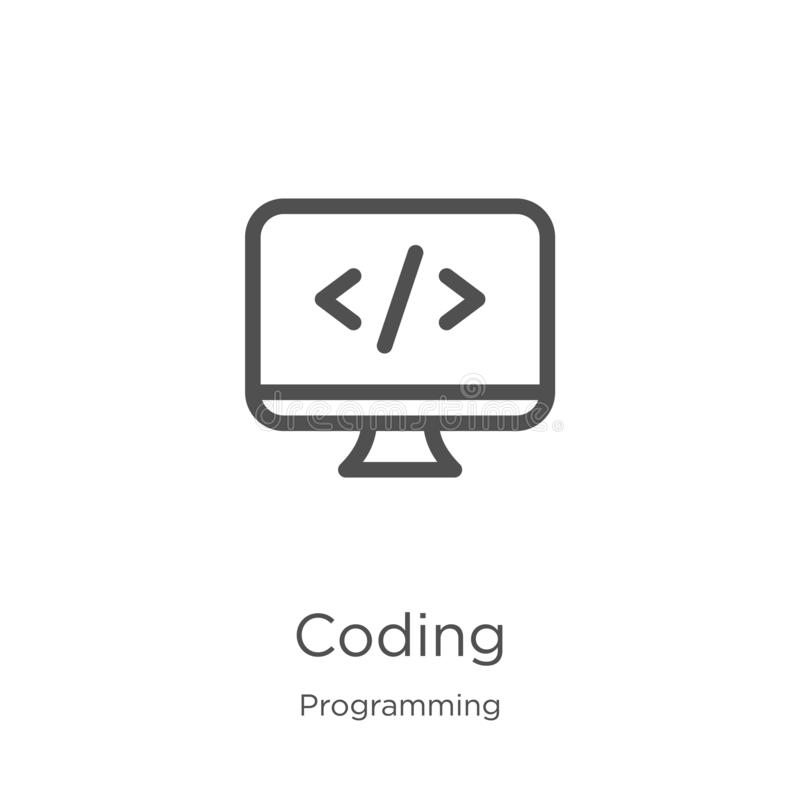 Coding icon vector from programming collection. Thin line coding outline icon vector illustration. Outline, thin line coding icon. Coding icon. Element of stock illustration