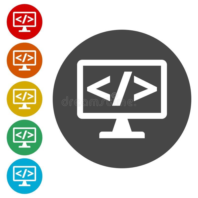 Coding icon. Vector icon, set stock illustration