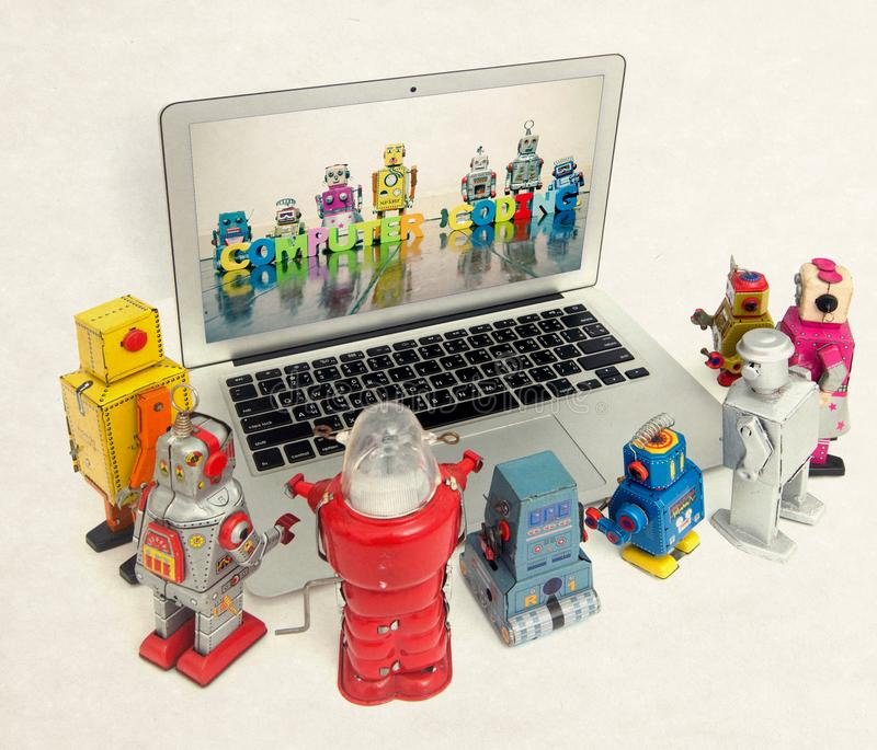 Coding for kids on a laptop computer stock images