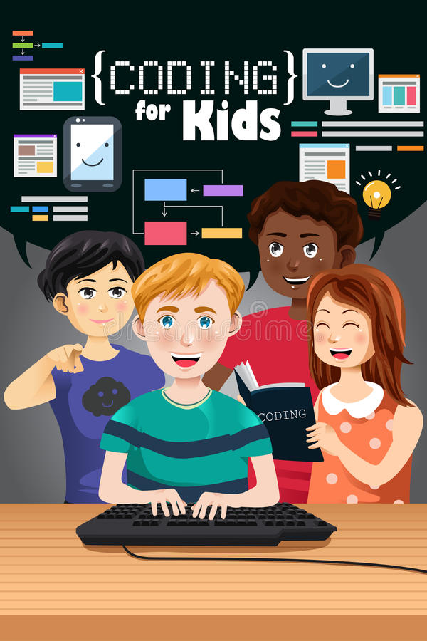 Coding for Kids Poster royalty free illustration