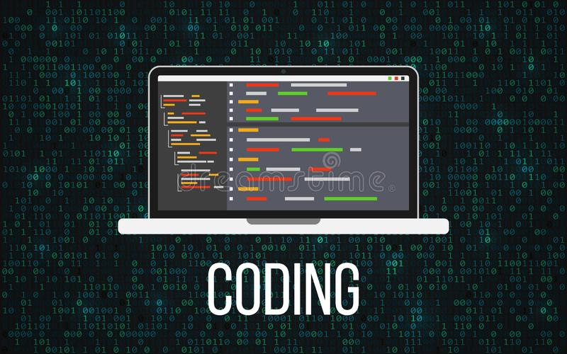 Coding laptop concept on binary background. Programming desktop and matrix backdrop. Monitor with program code. Mobile stock illustration