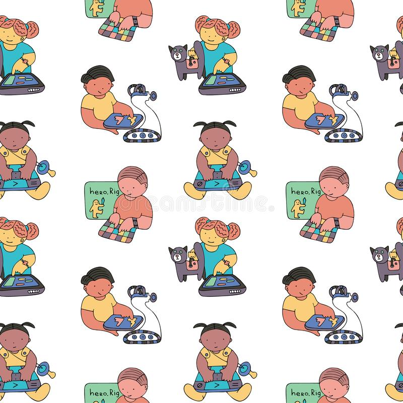 Coding pattern. Children coding seamless pattern. Coding for kids articles and sites. Stationery and wrapping. Programming education royalty free illustration