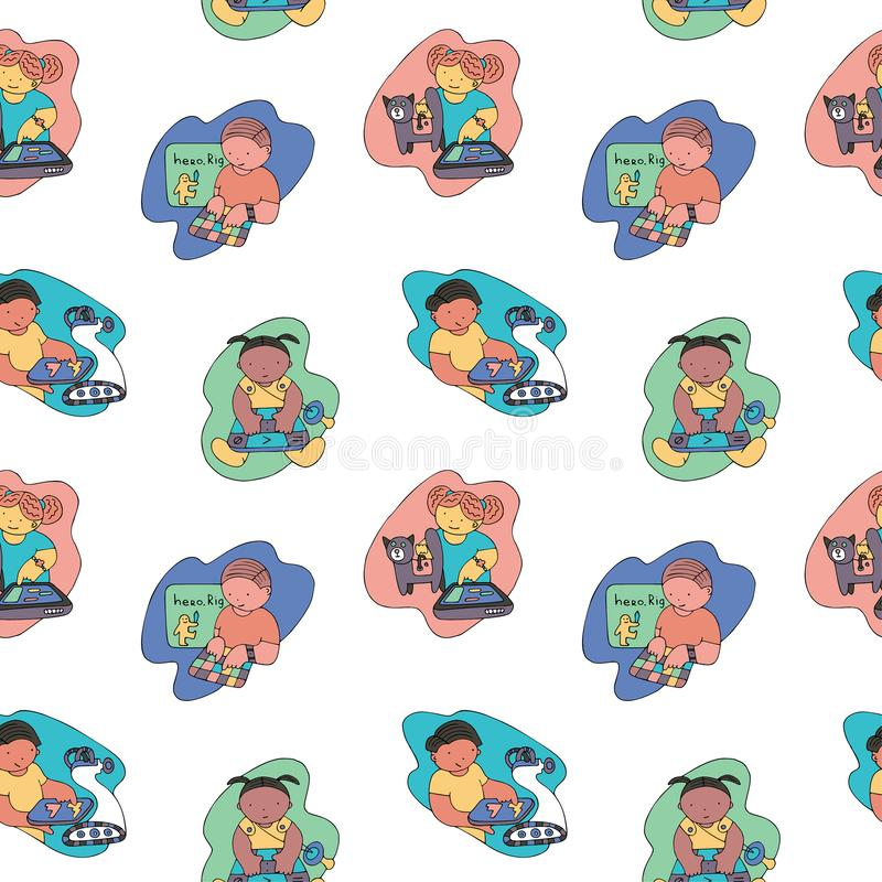 Coding pattern. Children coding seamless pattern. Coding for kids articles and sites. Stationery and wrapping. Programming education stock illustration