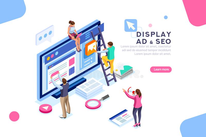 Display Campaign Coding People Flat Isometric Banner. Coding people team work together. Seo optimization for target searching process. Pay click social content vector illustration
