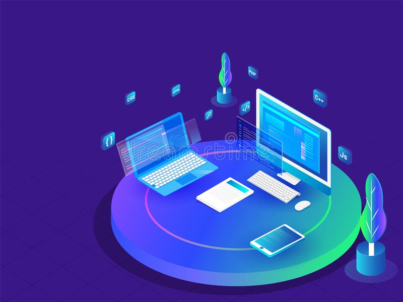Coding And Programming Concept, Isometric Illustration Of Desktop And  Laptop With Different Programing Languages Or Work Place Stock Illustration  - Illustration of search, computer: 123959896