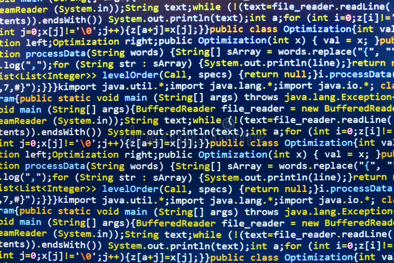 Coding programming source code screen. Programming code abstract screen software developer. Computer script royalty free stock photography