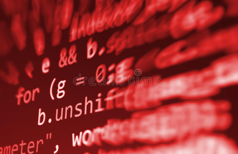 Coding programming source code screen. Colorful abstract data display. Software developer web program script. stock images