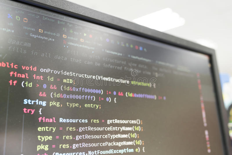 Coding on screen. With colorful code royalty free stock photography